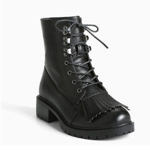 NWT Torrid Tassle Toe Combat Boots Size 6.5 Wide